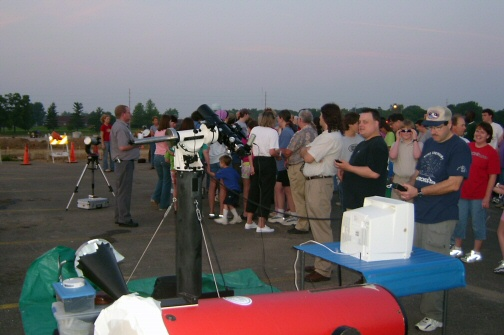 a pre-dawn crowd gathers at ICC to witness the rare occurance of Venus transiting the sun